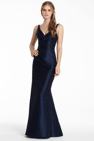 Floor-Length Sheath V-Neck Sleeveless Criss-Cross Satin Bridesmaid Dress