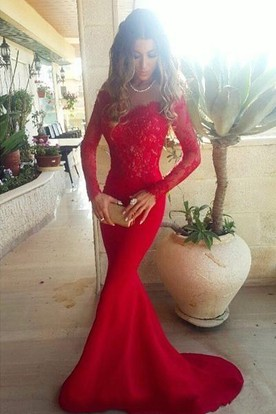 4832d438d79d Sexy Red Lace Appliques Mermaid Prom Dress 2018 Sweep Train Long Sleeve ...