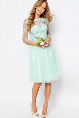 3999341b40f2 Knee-Length Appliqued Bateau Neck 3-4 Sleeve Tulle Bridesmaid Dress ...