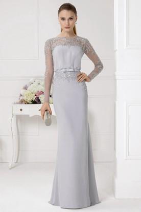 018d516fa409 Sheath Beaded Jewel Neck Illusion Sleeve Chiffon Prom Dress ...