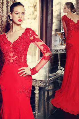 cd8cca5d54e5 ... Sexy Red Long Sleeve Mermaid Prom Dress With Lace Appliques Sweep Train