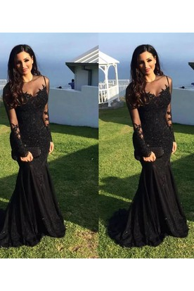 aa0a8b2d55df ... Long Sleeve Mermaid High Neck Floor-length Sweep Brush Train Lace  Evening Dress with Appliques