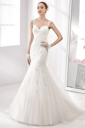 466981009864 Sweetheart Mermaid Lace Wedding Dress With Crisscross Waist And Illusive  Straps ...