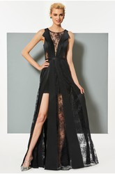 Sexy Satin and Tulle Sheath Bateau Front Split Long Dress with Applique