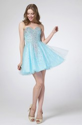 A-Line Mini Sweetheart Sleeveless Tulle Satin Dress With Beading