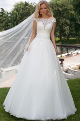 Floor-Length A-Line Cap Sleeve Scoop Neck Appliqued Tulle Wedding Dress