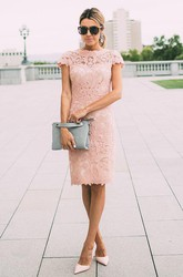 Floral Lace Cap Sleeve Knee Length sheath party dresses