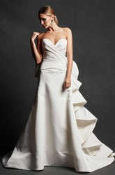 A-Line Sweetheart Ruffled Floor-Length Satin Wedding Dress With Criss Cross And Deep-V Back