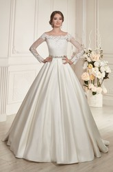 A-Line Floor-Length Bateau-Neck Illusion-Sleeve Illusion Satin Dress With Beading And Pleatings
