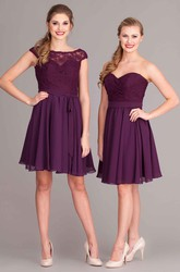 Short Scoop Cap-Sleeve Lace Chiffon Bridesmaid Dress With Pleats