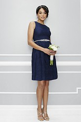 A-Line Mini Sleeveless Beaded Scoop Neck Satin Bridesmaid Dress