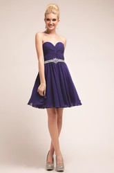 A-Line Short Sweetheart Chiffon Dress With Criss Cross And Waist Jewellery
