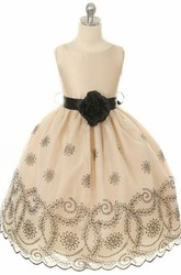 Embroideried Floral Beaded Organza Flower Girl Dress With Sash