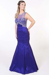 Mermaid Floor-Length Beaded Scoop Sleeveless Satin Prom Dress With Keyhole Back