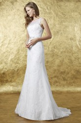 Sheath Floor-Length Appliqued Scoop Sleeveless Lace Wedding Dress With Bow And Waist Jewellery