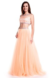 A-Line Scoop Neck Sleeveless Beaded Tulle Prom Dress With Illusion Back