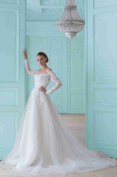 Ball Gown Off-The-Shoulder Maxi Long-Sleeve Tulle Wedding Dress With Appliques And Illusion