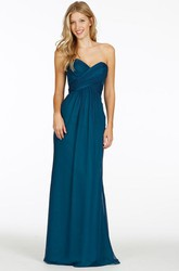 Sweetheart Maxi Criss-Cross Chiffon Bridesmaid Dress With V Back