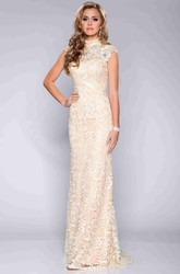 Column Lace Cap Sleeve High Neck Prom Dress With Crystal Detailing