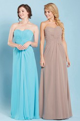 Ruched Sweetheart Sleeveless Chiffon Bridesmaid Dress With Lace-Up
