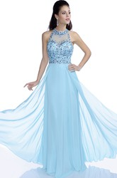 Chiffon A-Line Sleeveless Jewel Neck Prom Dress With Keyhole Back And Beaded Bodice
