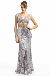 Trumpet Sleeveless Beaded V-Neck Long Sequins Prom Dress