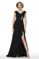 Simple Chiffon V-Neck Cap Sleeve Long Dress with Front Split and Beading