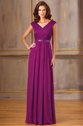 Cap-Sleeved V-Neck A-Line Long Mother Of The Bride Dress With Sequined Waist