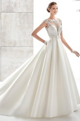 Jewel-Neck A-Line Satin Wedding Dress With Illusive Design And Lace Bodice