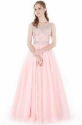 A-Line Beaded Sleeveless Scoop-Neck Floor-Length Tulle&Satin Prom Dress