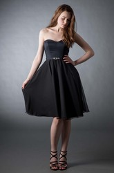 Short A-Line Jeweled Strapless Chiffon Bridesmaid Dress With Button