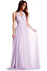 Beaded Sleeveless High Neck Chiffon Prom Dress