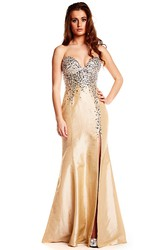 Mermaid Beaded Sleeveless Sweetheart Satin Prom Dress