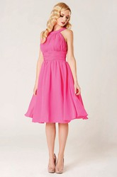 A-Line Sleeveless Scoop-Neck Ruched Midi Chiffon Bridesmaid Dress