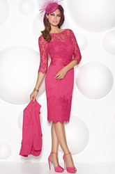 Knee-Length 3-4 Sleeve Bateau Neck Lace Mother Of The Bride Dress With Illusion Back