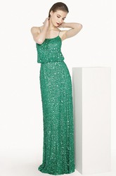 Scoop Neck Sheath Long Prom Dress With Allover Sequins And Spaghetti Straps