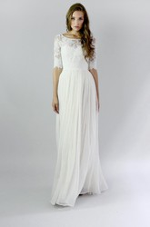 Button Back Sheath Chiffon Wedding Dress With Lace And Pleats