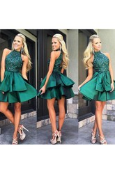 Elegant High Neck Tiered Short Satin Dress With Beadings