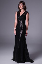 Sheath Lace Sleeveless V-Neck Floor-Length Sequins Prom Dress
