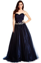 A-Line Criss-Cross Sweetheart Sleeveless Long Satin Prom Dress With Bow And Waist Jewellery