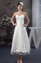 Tea-Length Sweetheart Criss-Cross Satin Lace Dress with Ruching and Flower