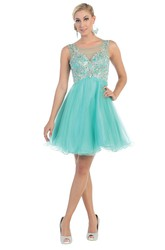 A-Line Short Bateau Sleeveless Tulle Illusion Dress With Beading And Pleats