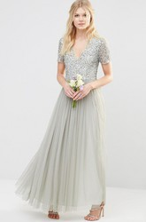Ankle-Length V-Neck Short Sleeve Pleated Tulle Bridesmaid Dress