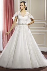 A-Line Floor-Length V-Neck Bat-Sleeve Appliqued Lace&Satin Wedding Dress With Criss Cross And Waist Jewellery