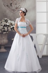 A-Line Strapless Tulle Lace Wedding Dress with Appliques and Lace Bolero
