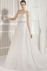A-Line Long Sleeveless Criss-Cross Sweetheart Satin Wedding Dress With Waist Jewellery And Backless Style