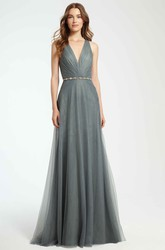 A-Line Maxi Ruched Sleeveless V-Neck Tulle Bridesmaid Dress With Waist Jewellery