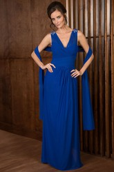 Sleeveless V-Neck Long Mother Of The Bride Dress With Jeweled Shoulders And Shawl