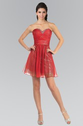 A-Line Short Sweetheart Sleeveless Chiffon Sequins Dress With Criss Cross