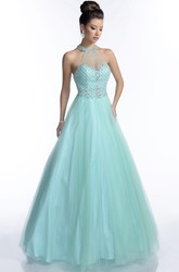 Halter Sleeveless A-Line Tulle Prom Dress With Illusion Back